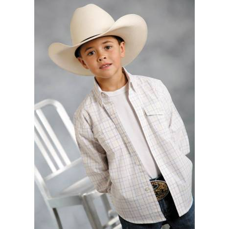 Roper Boys Bisbee Plaid Long Sleeve Button Shirt - White