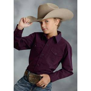 Roper Boys Black Fill Poplin Long Sleeve Snap Shirt - Plum Purple