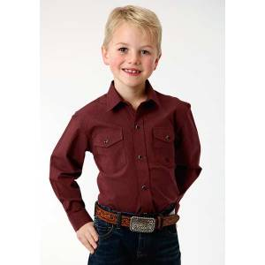 Roper Boys Black Fill Poplin Long Sleeve Snap Shirt - Rust