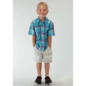 Roper Boys Blue River Plaid Short Sleeve Snap Shirt