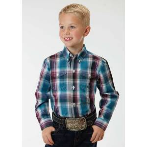 Roper Boys Blueberry Plaid Long Sleeve Button Shirt