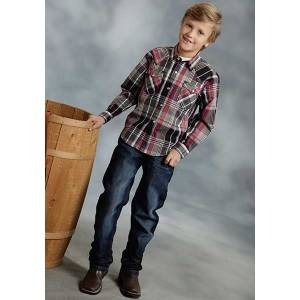 Roper Boys Bordeaux Dobby Plaid Long Sleeve Snap Shirt