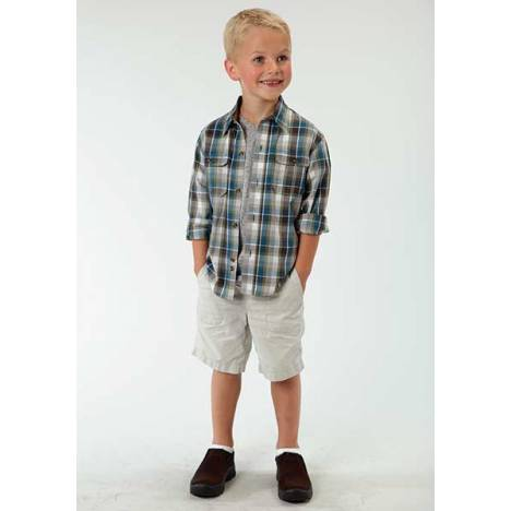 Roper Boys Buffalo Line Plaid Long Sleeve Button Shirt