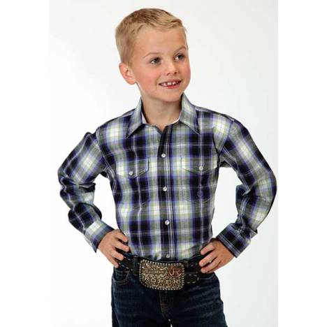 Roper Boys Driftwood Plaid Long Sleeve Snap Shirt