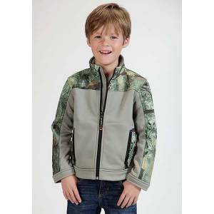 Roper Boys Karman Camo Accent Fleece Zip Jacket - Black/Grey