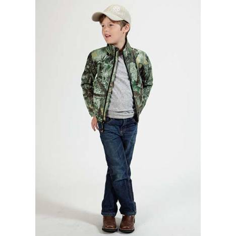 Roper Boys Karman Camo Fleece Zip Jacket - Black