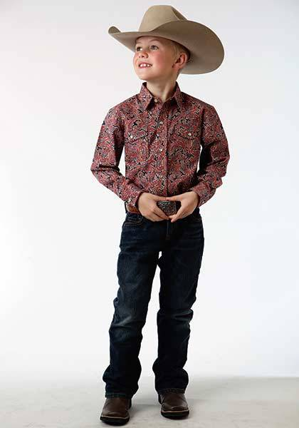 Rock /& Roll Cowboy Boys Poplin Paisley Print Long Sleeve Snap Shirt