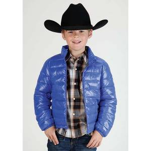 Roper Boys Light Weight Crushable Parachute Jacket - Blue
