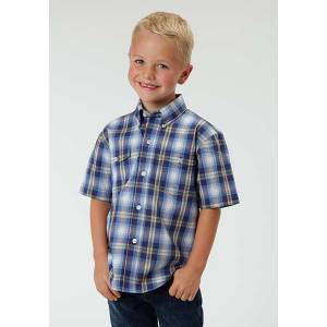 Roper Boys May Day Plaid Short Sleeve Button Shirt