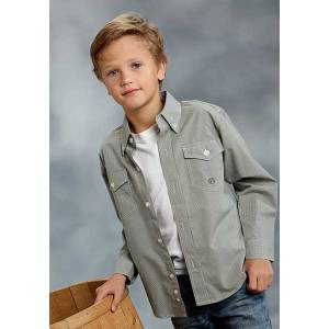 Roper Boys Mini Check Long Sleeve Button Shirt - Olive Green