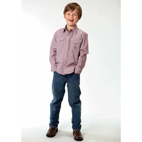 Roper Boys Mini Check Long Sleeve Snap Shirt - Red