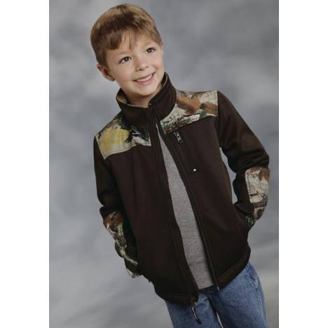 Roper Boys Print Camo Accent Fonded Fleece Zip Jacket - Brown