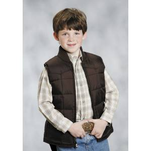 Roper Boys Range Gear Quilted Down Vest - Choco Brown