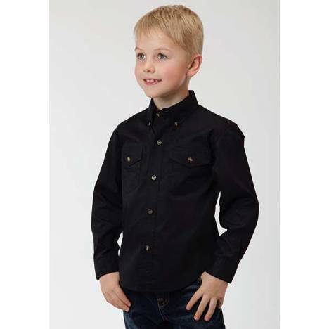 Roper Boys Solid Poplin Long Sleeve Button Shirt - Black