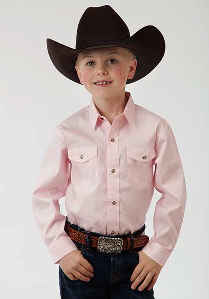 Roper Boys Solid Poplin Long Sleeve Variegated Snap Shirt - Pink