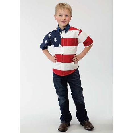 Roper Boys Stars & Stripes American Flag Short Sleeve Button Shirt