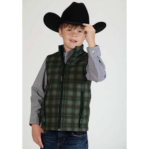 Roper Boys Technical Fleece Lined Plaid Softshell Vest