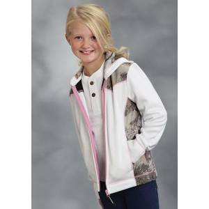 Roper Girls Accented Winter White Bonded Fleece Hooded Jacket - White