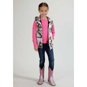 Roper Girls Allover Winter Camo Fleece Hooded Vest - White