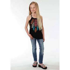 Roper Girls Colorful Feather Print Spaghetti Strap Tank Top