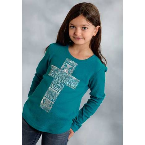 Roper Girls Distessed Aztec Cross Long Sleeve T-Shirt