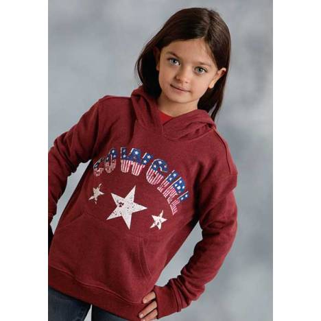 Roper Girls Distressed Americana Cowgirl Pullover Sweatshirt