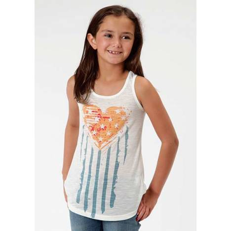 Roper Girls Distressed Stars And Stripes Heart Racer Back Tank Top