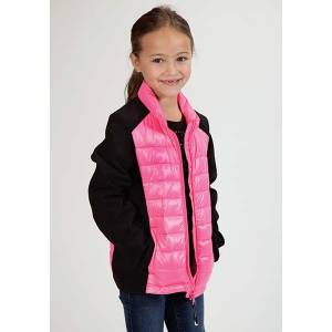 Roper Girls Down Like Parachute Soft Sleeve Jacket - Pink/Black