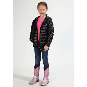 Roper Girls Down Like Polyfil Hooded Jacket - Black