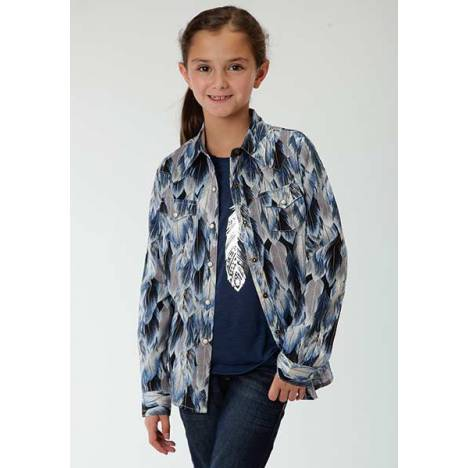 Roper Girls Feather Print Long Sleeve Snap Shirt