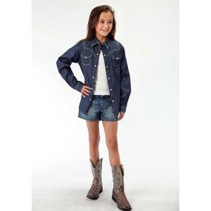 Roper Girls Lightweight Denim Topstitch Long Sleeve Shirt