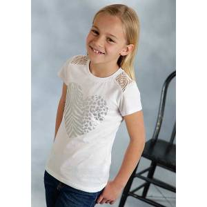 Roper Girls Metallic Animal Print Lace Insert T-Shirt