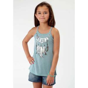Roper Girls Metallic Feather Print Spaghetti Strap Tank Top