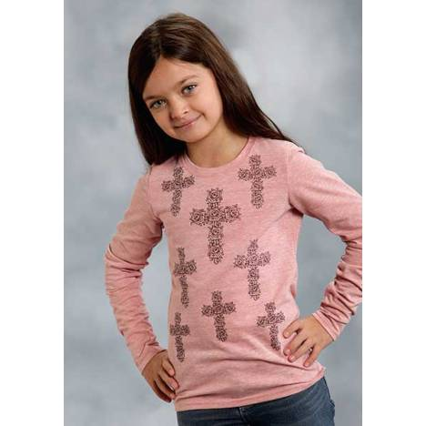 Roper Girls Multi Floral Cross Print Long Sleeve T-Shirt