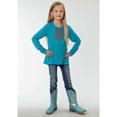 Roper Girls Novelty Print Long Sleeve T-Shirt - Blue