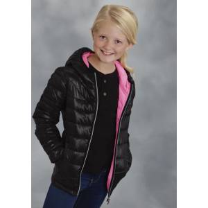 Roper Girls Parachute Crushable Down Like Jacket - Black/Pink