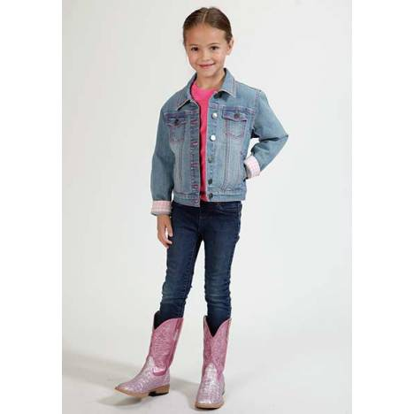 Roper Girls Plaid Lined Denim Jacket