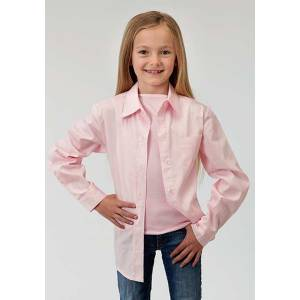 Roper Girls Poplin Long Sleeve Variegated Button Shirt - Pink