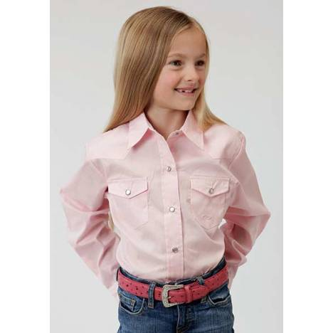 Roper Girls Poplin Long Sleeve Variegated Snap Shirt - Pink