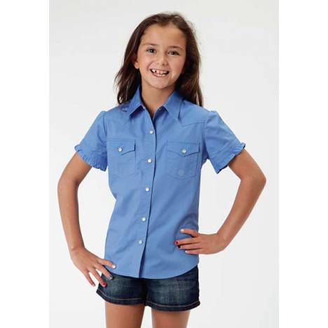 Roper Girls Poplin Ruffled Edge Short Sleeve Snap Shirt