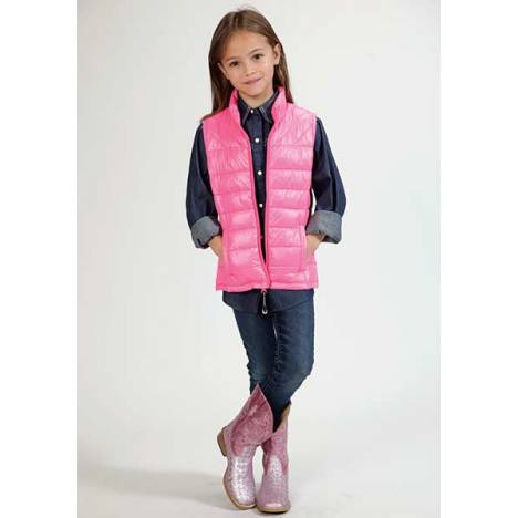 Roper Girls Range Gear Down Polyfil Vest - Pink