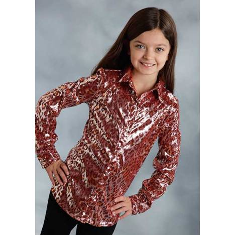 Roper Girls Shiny Leopard Long Sleeve Snap Shirt - Red