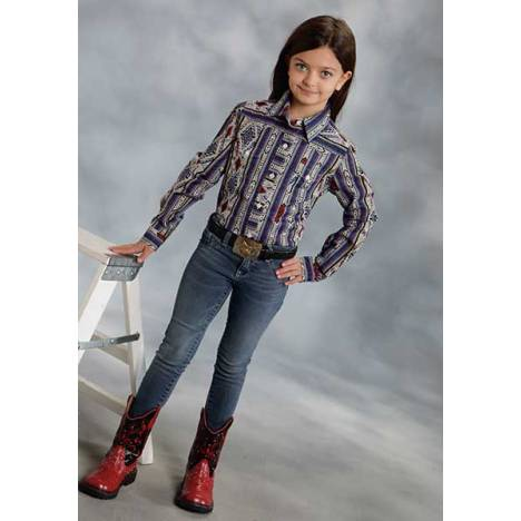 Roper Girls Stripe Aztec Long Sleeve Snap Shirt