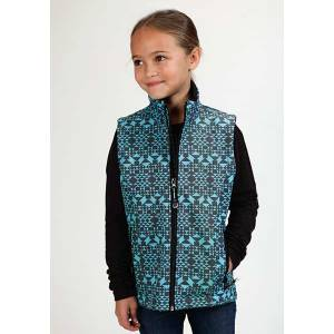 Roper Girls Technical Diamond Aztec Print Softshell Vest