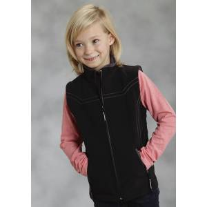 Roper Girls Technical Fleeve Softshell Vest - Black