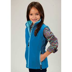 Roper Girls Technical Fleeve Softshell Vest - Blue