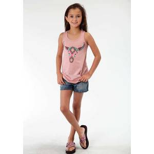 Roper Girls Whimsical Aztec Skull Print Racer Back Tank Top