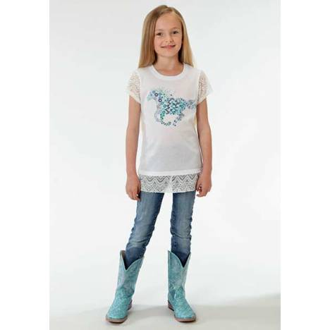 Roper Girls Whimsical Floral Horse Print Stretch Lace Trim T-Shirt