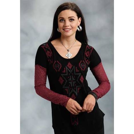 Roper Ladies Allover Lace Sleeve Sweater Jersey Top
