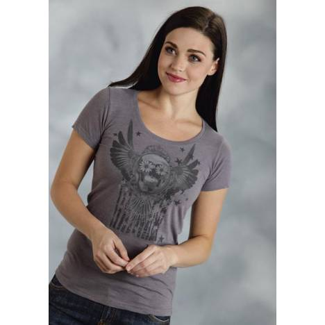 Roper Ladies American Sugar Skull And Flag T-Shirt